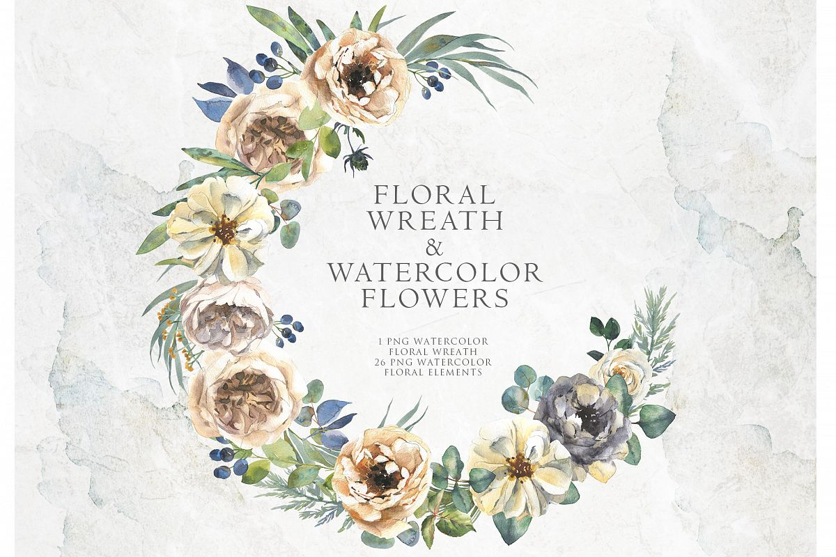 Delicate watercolor flowers and floral wreath example image 1