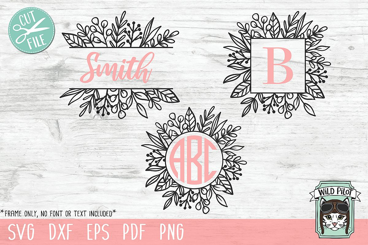 Leaf Monogram Frames, Circle, Square, Split Frame SVG files example image 1