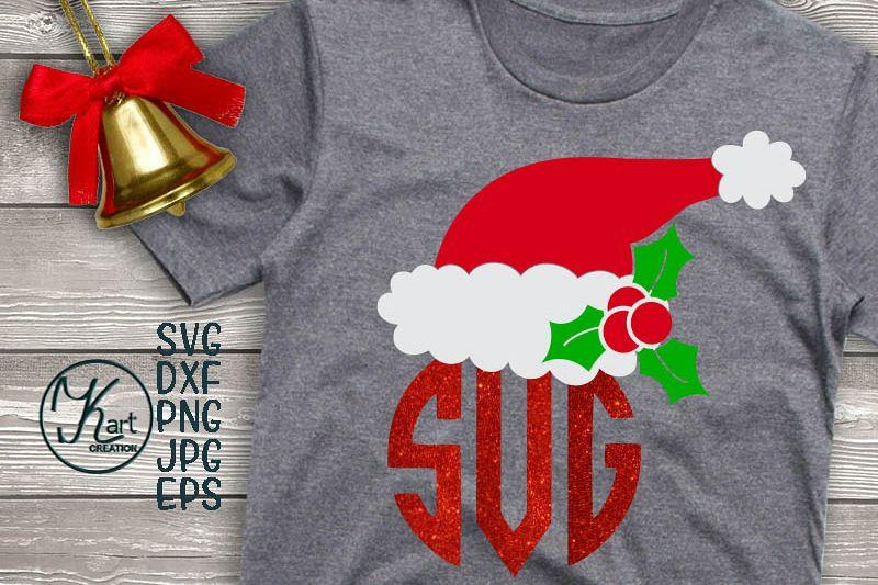 Santa hat svg, Santa hat monogram svg, Christmas svg clipart example image 1