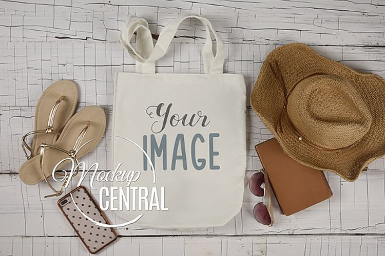 Blank White Canvas Tote Bag Mockup Flatlay Top View JPG example image 1