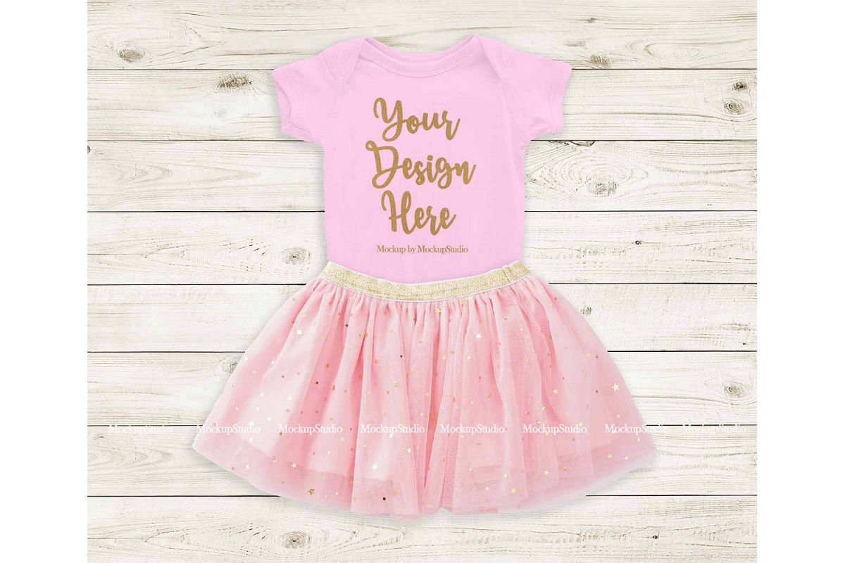 Pink Baby Bodysuit Mockup, Newborn Infant Toddler Onepiece example image 1