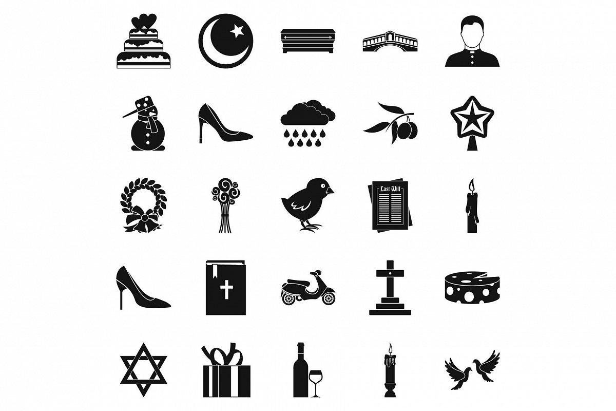 Divine service icons set, simple style example image 1