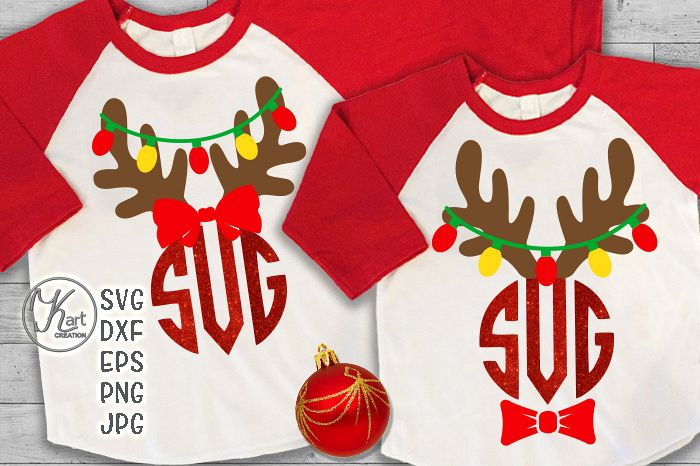 antlers with Christmas lights monogram for boy girl svg dxf example image 1