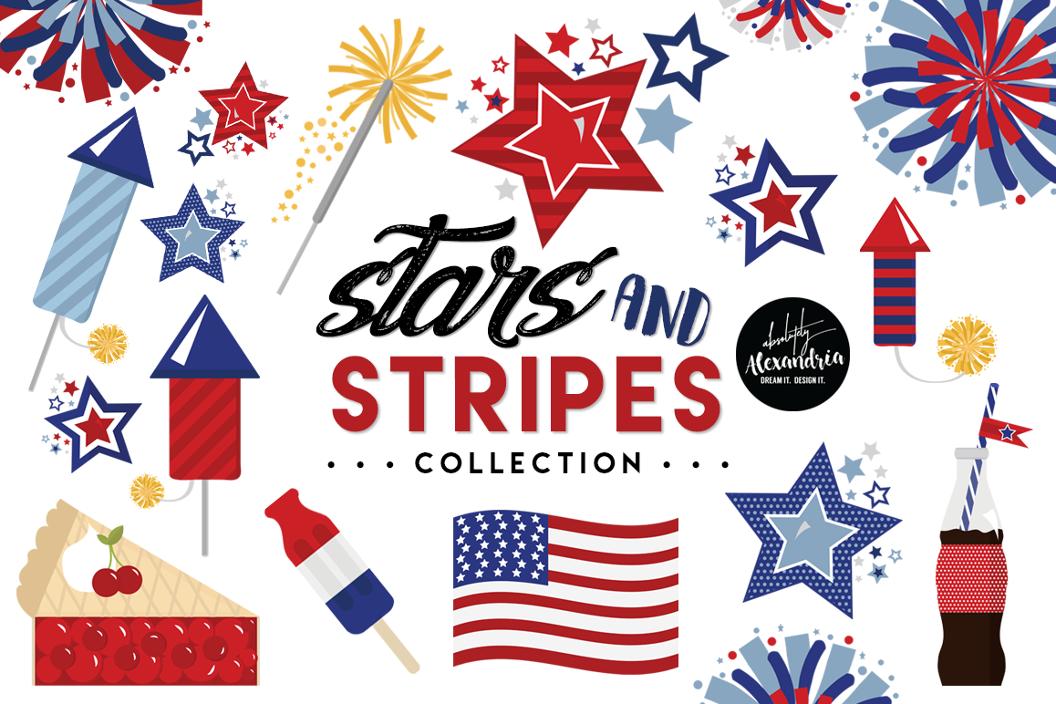 Stars & Stripes Clipart Graphics & Digital Paper Patterns Bundle example image 1