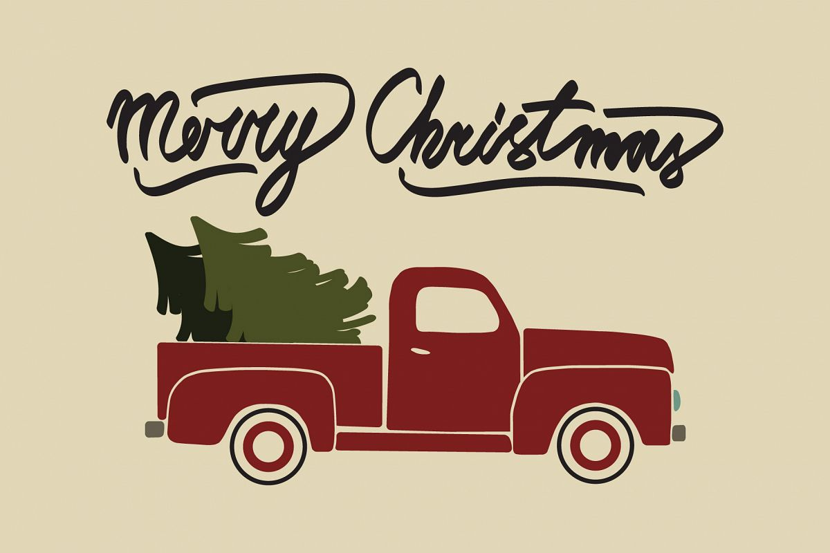Red christmas vintage pickup truck with christmas tree.