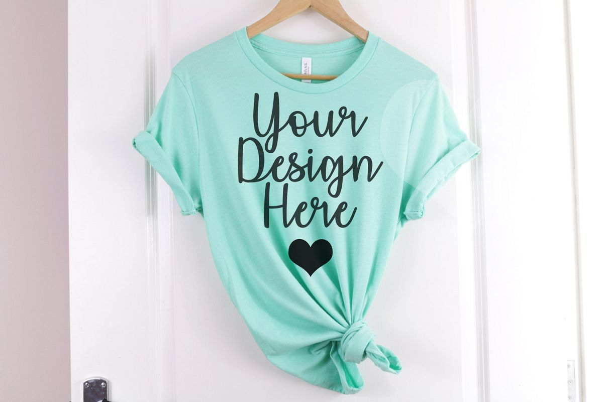 Heather Mint Bella Canvas 3001 T Shirt Mockup example image 1