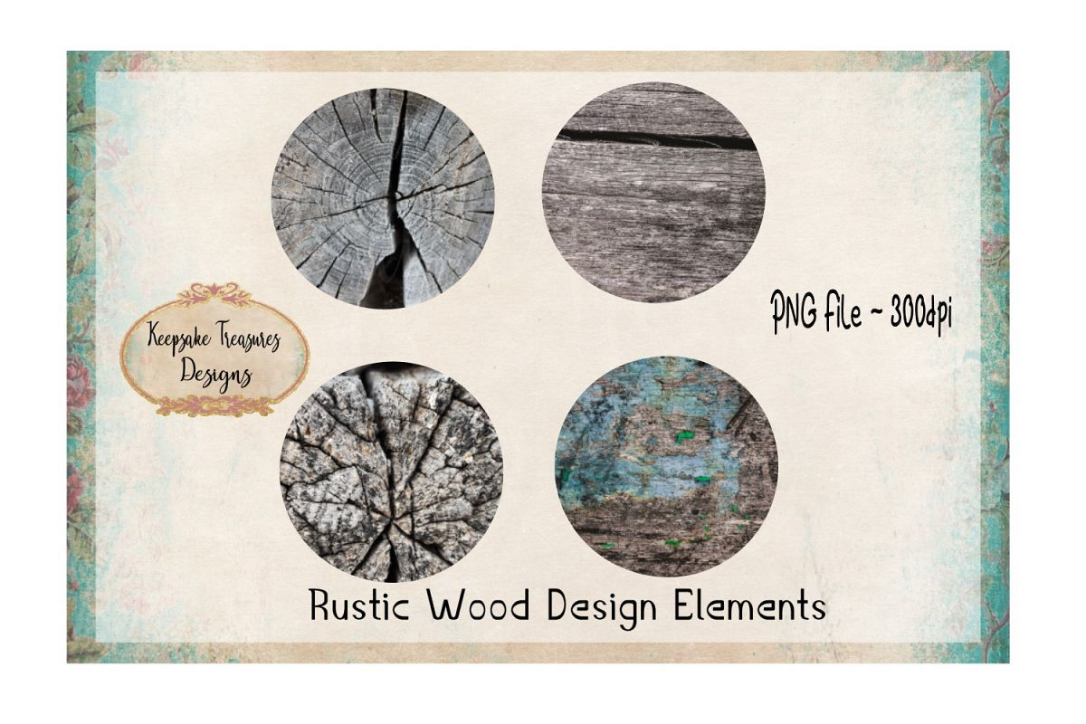 Rustic Wood Design Element Set example image 1