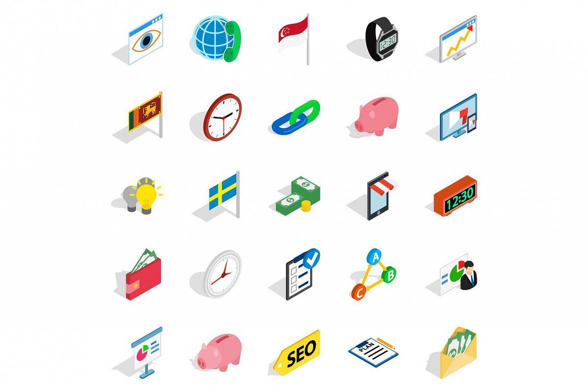Business strategy icons set, isometric style example image 1