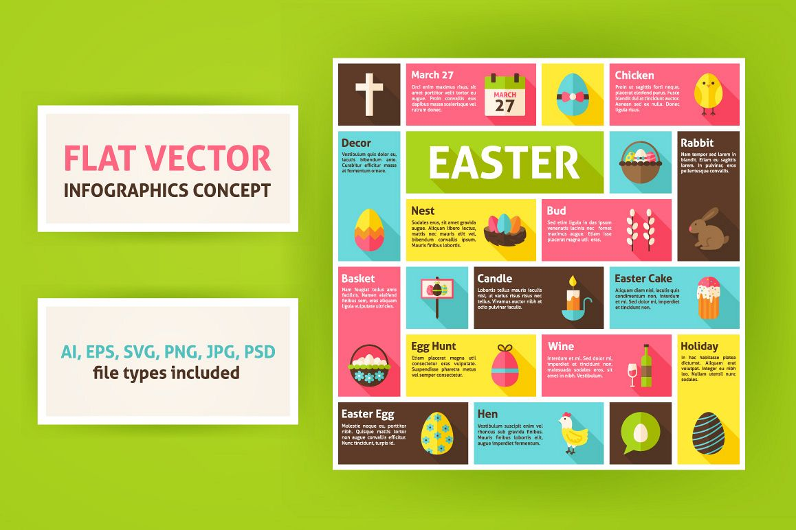 Easter Vector Flat Infographics example image 1
