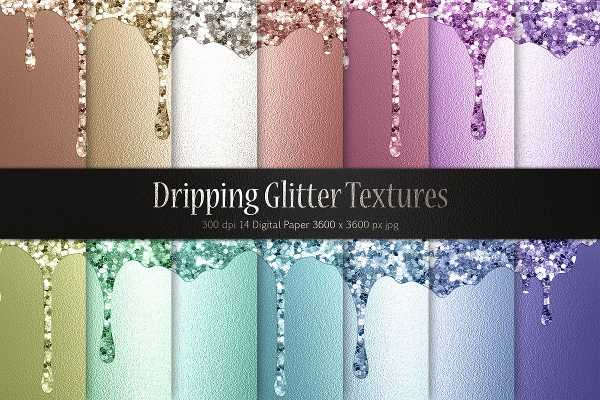 Dripping Glitter Metallic Textures example image 1