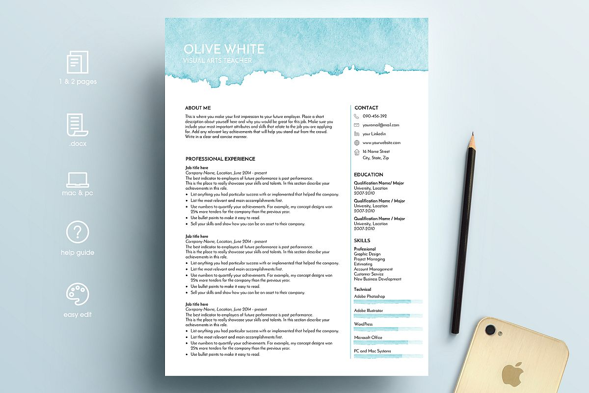 resume template word blue watercolor