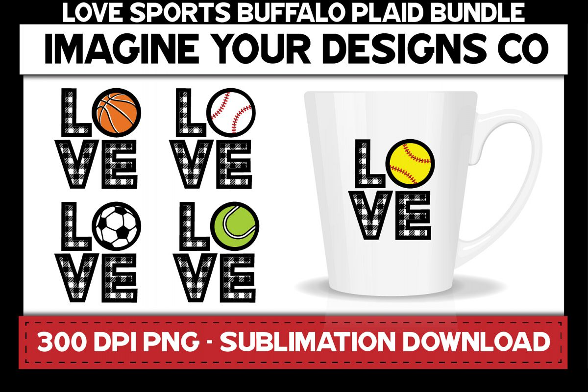 Love Sports Buffalo Plaid Sublimation Bundle example image 1