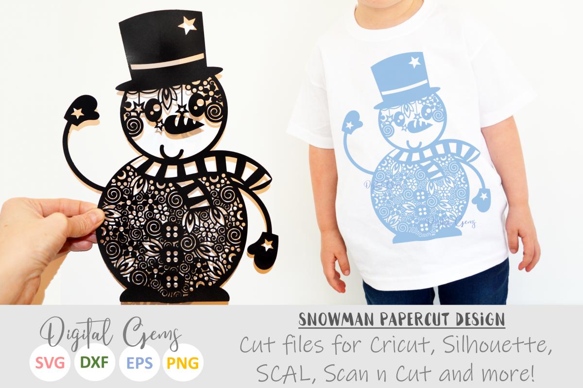 Snowman, zentangle papercut design. SVG / PNG / EPS / DXF example image 1
