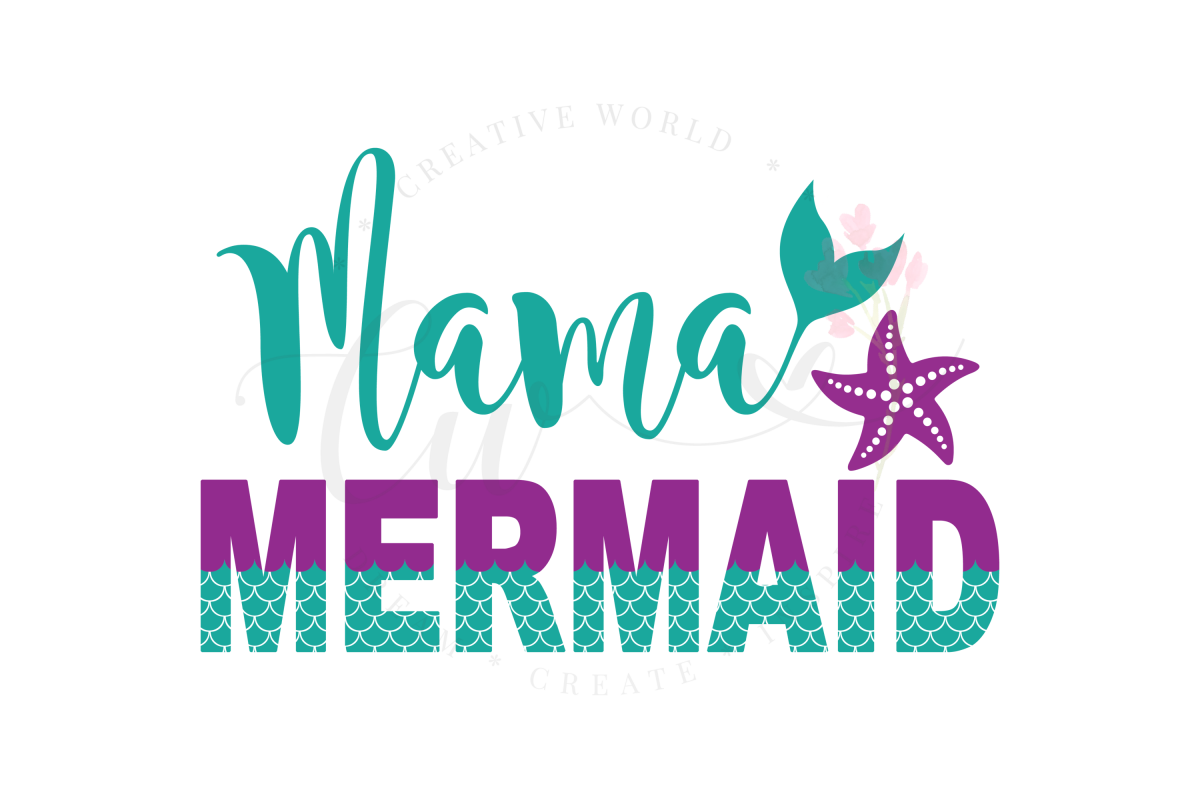 Mama Mermaid SVG | Mermaid Birthday Girl svg example image 1
