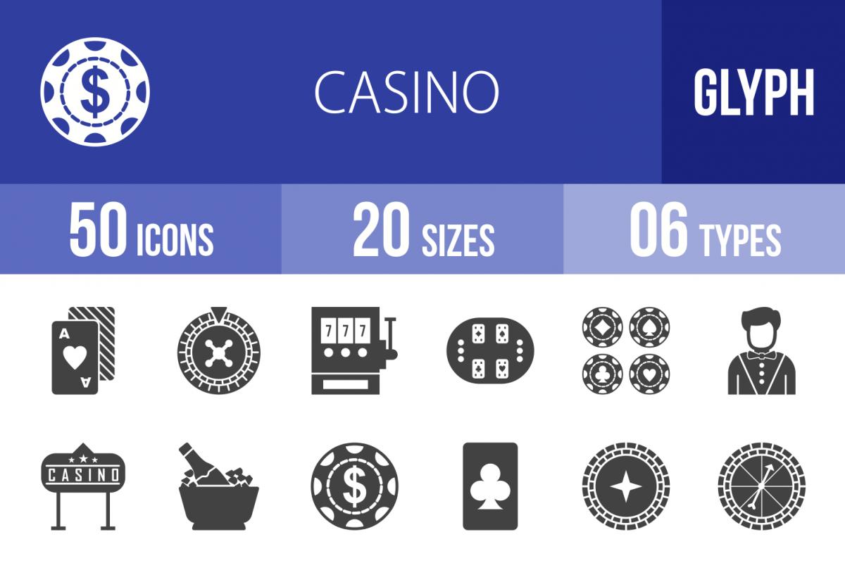 50 Casino Glyph Icons example image 1