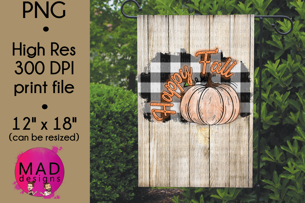 Happy Fall - Buffalo Plaid - Garden Flag PNG example image 1