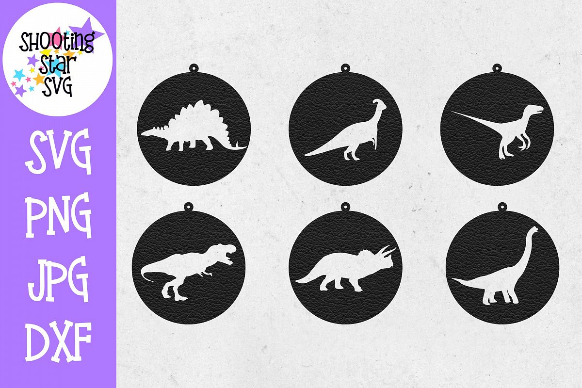Dinosaur Earring SVG Template - Earring SVG - Dinosaur SVG example image 1
