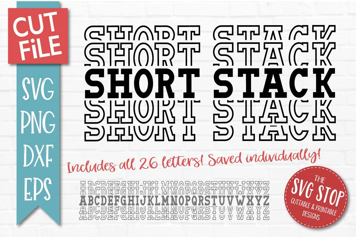 Short Stacked Mirror Alphabet - SVG, PNG, DXF, EPS example image 1