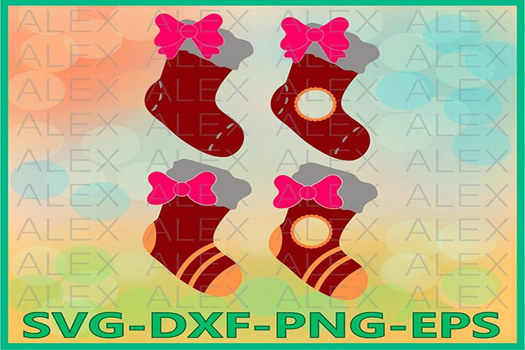 Santa Stockings SVG, Christmas Socks Svg, Christmas Socks example image 1