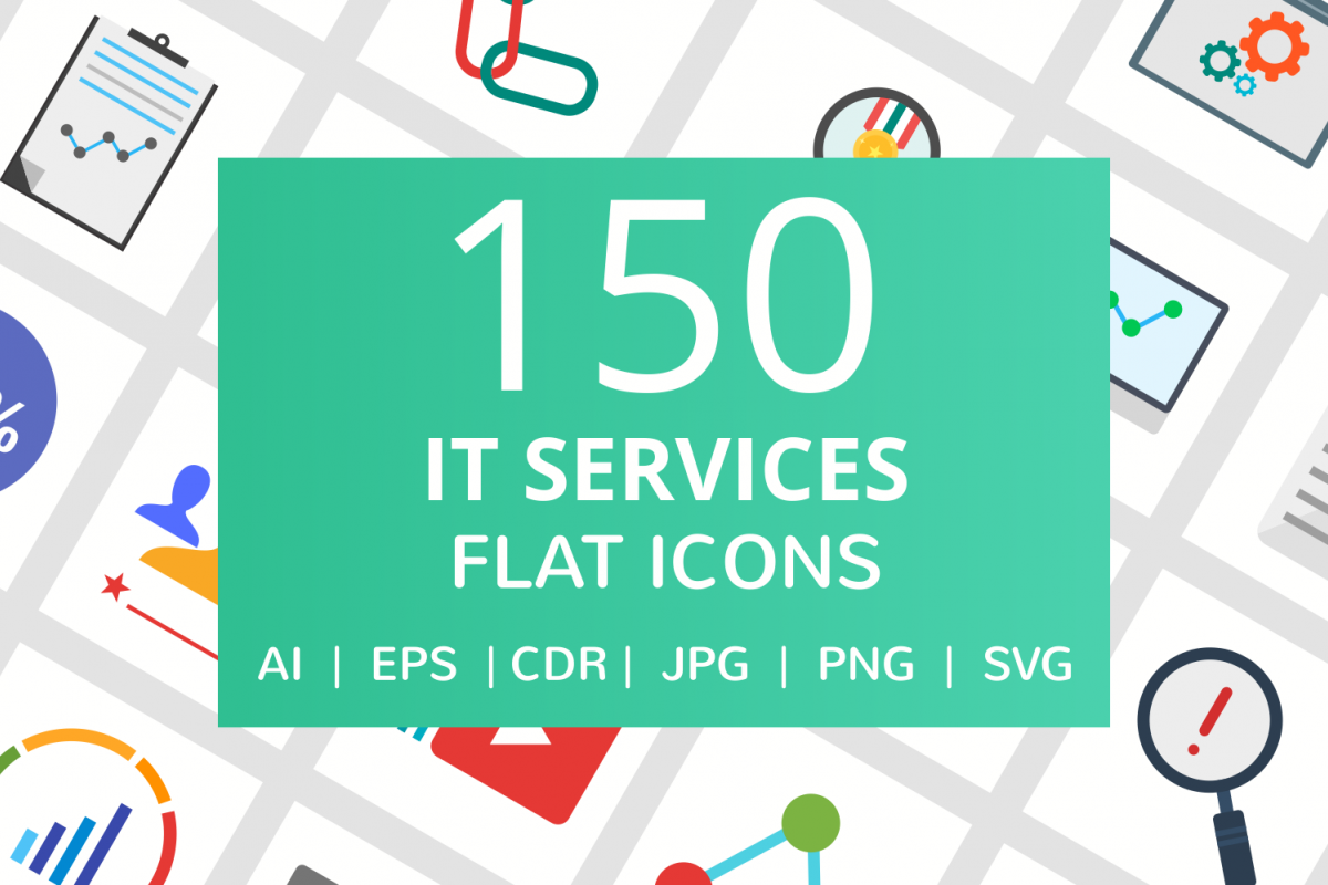 150 IT Services Flat Icons example image 1