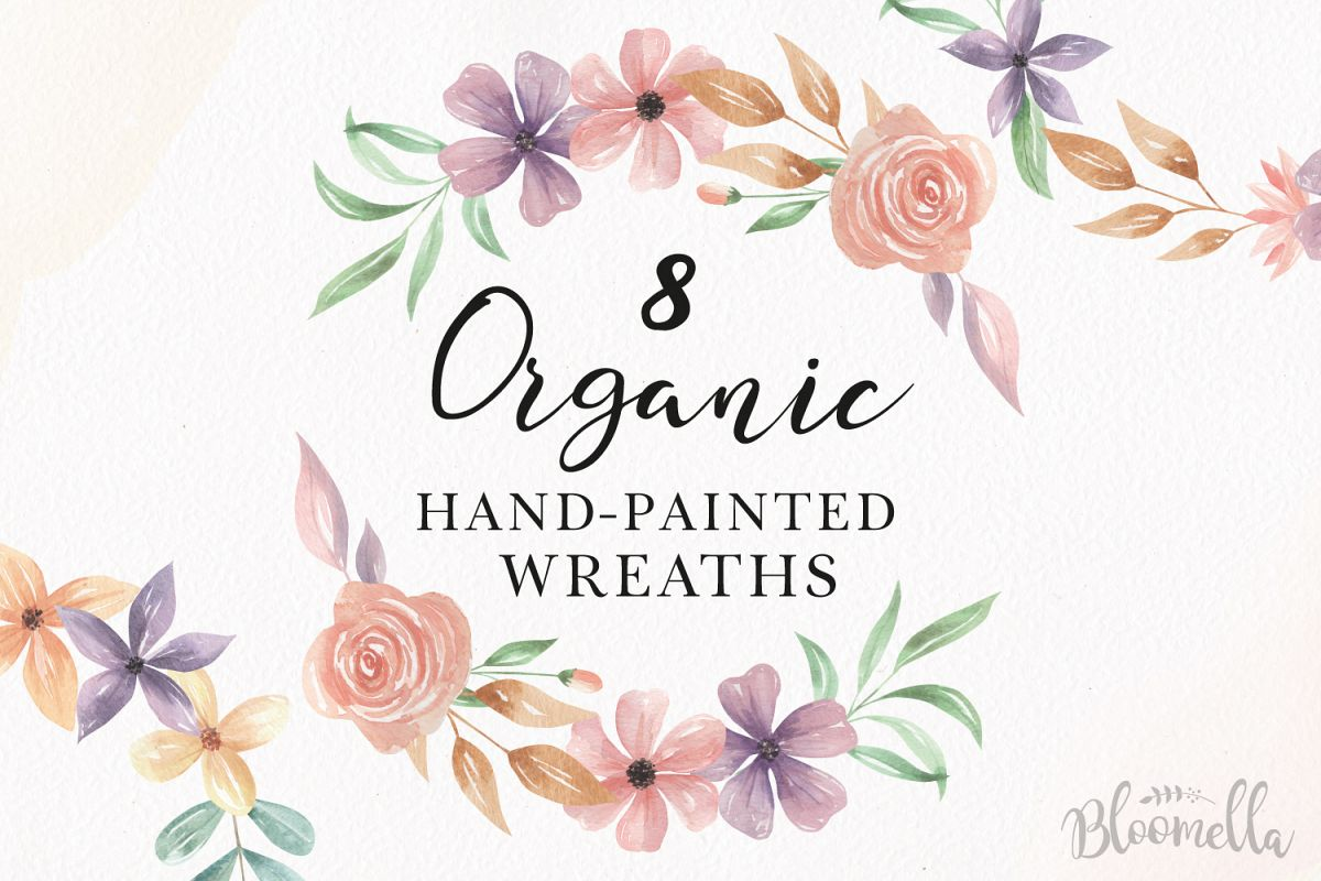 Watercolor Floral Organic Wreaths 8 Garlands Pretty Flowers