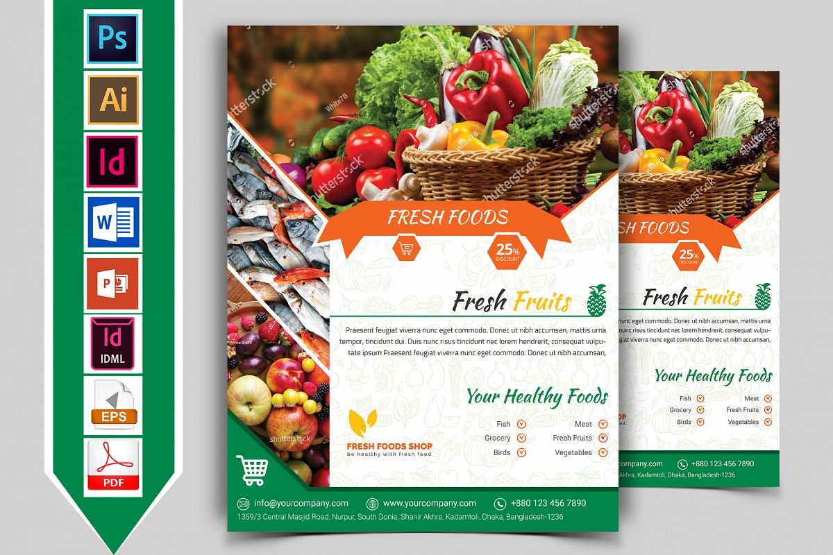 Fresh Food Grocery Shop Flyer Vol-03 example image 1