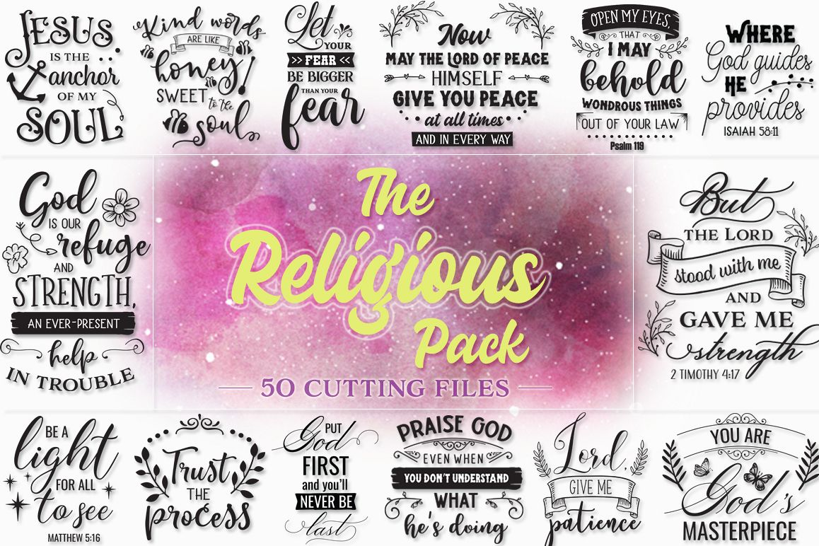 The Religious Pack - 50 Cutting Files SVG DXF EPS PNG example image 1