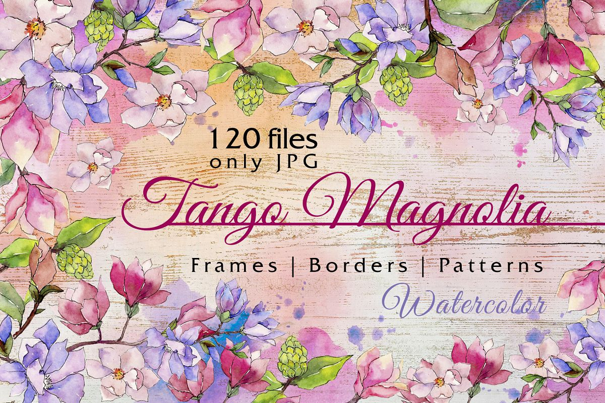 Jango magnolia JPG watercolor set  example image 1