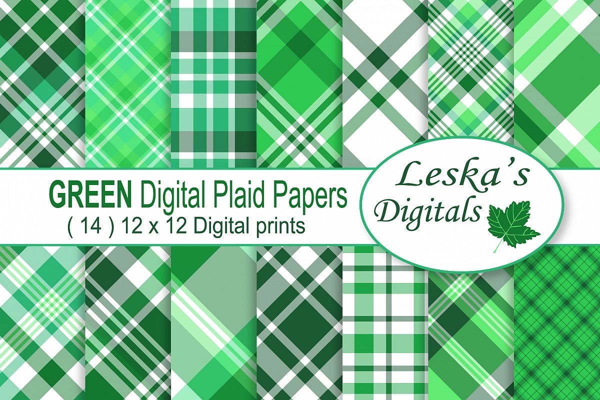 Green Plaid Digital Papers example image 1