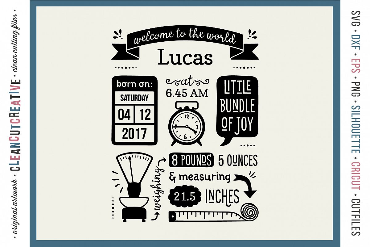 BIRTH STATS TEMPLATE - Baby Birth Announcement - SVG DXF EPS PNG - Cricut & Silhouette - clean cutting files example image 1