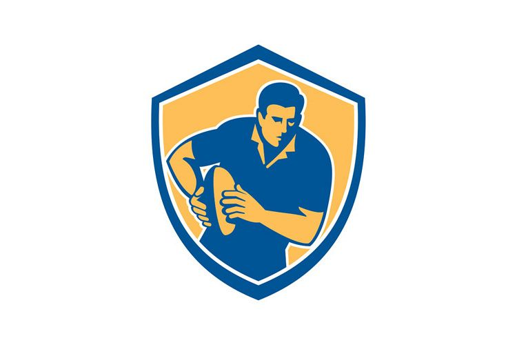 Rugby Player Running Ball Shield Retro example image 1