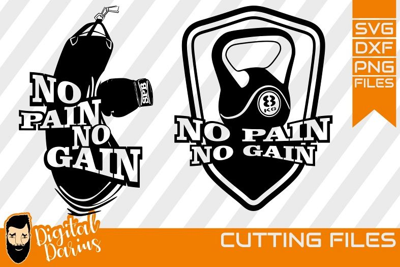 2x No pain no gain svg, Motivational quote svg, Fitness svg, example image 1
