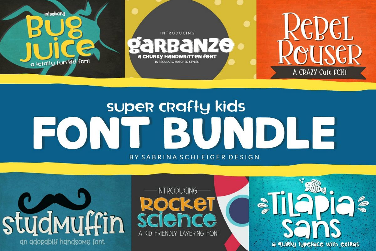 Font Bundle - Super Crafty Kids Cut Friendly Fonts example image 1