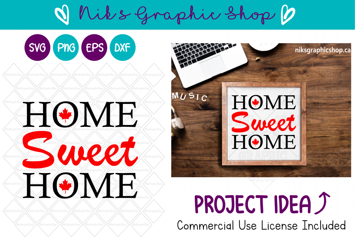 Canada Svg, Canada Cut Files, Canada, Home sweet home SVG example image 1