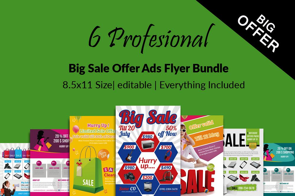 6 Big Sale Offer Flyers Bundle example image 1