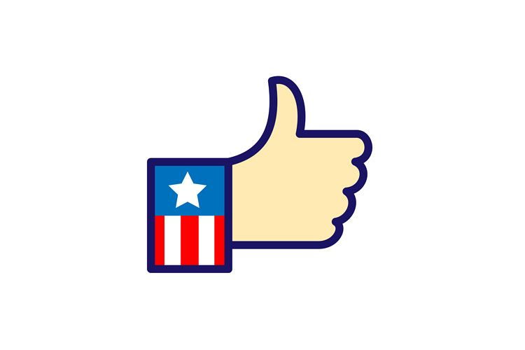 American Hand Thumbs Up Icon example image 1