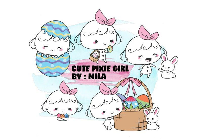 KAWAII GIRL CLIPART BUNDLE PNG example image 1
