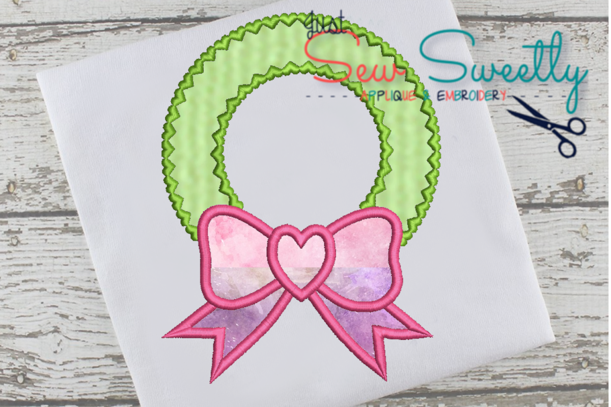 Christmas Wreath Applique Embroidery Design example image 1