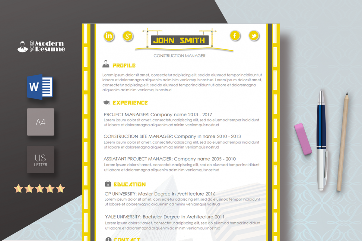 Construction Resume Template For Word Clean CV Design Update Instant Download