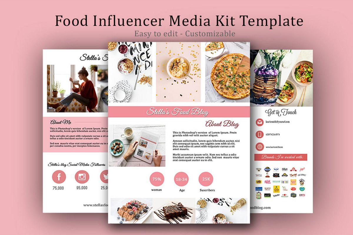Influencer Food Media Kit Template - Sponsorships For Blogs example image 1
