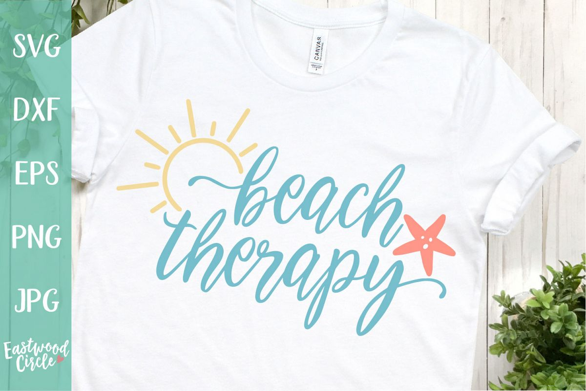 Beach Therapy - A Beach SVG Cut File for Crafters example image 1
