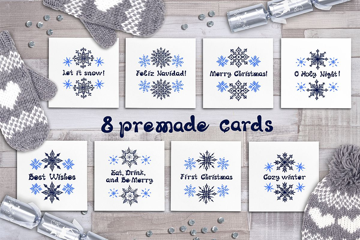 8 hand drawn Christmas greeting cards with snowflakes example image 1