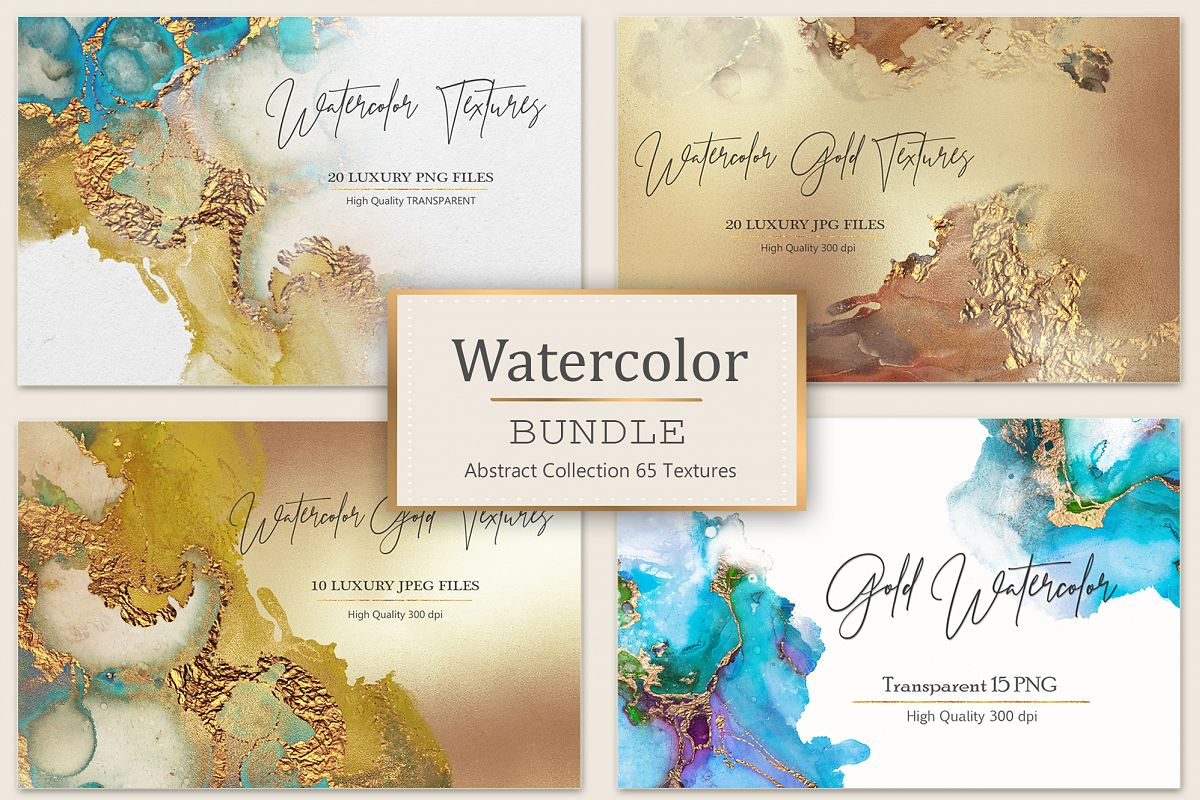 Gold Watercolor and Foil JPG-PNG Textures-BUNDLE example image 1