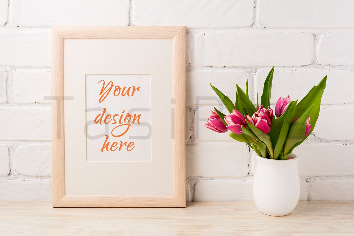 Wooden frame mockup with magenta pink tulips bouquet in white flower wooden frame mockup with magenta pink tulips bouquet in white flower pot near painted brick wall mightylinksfo