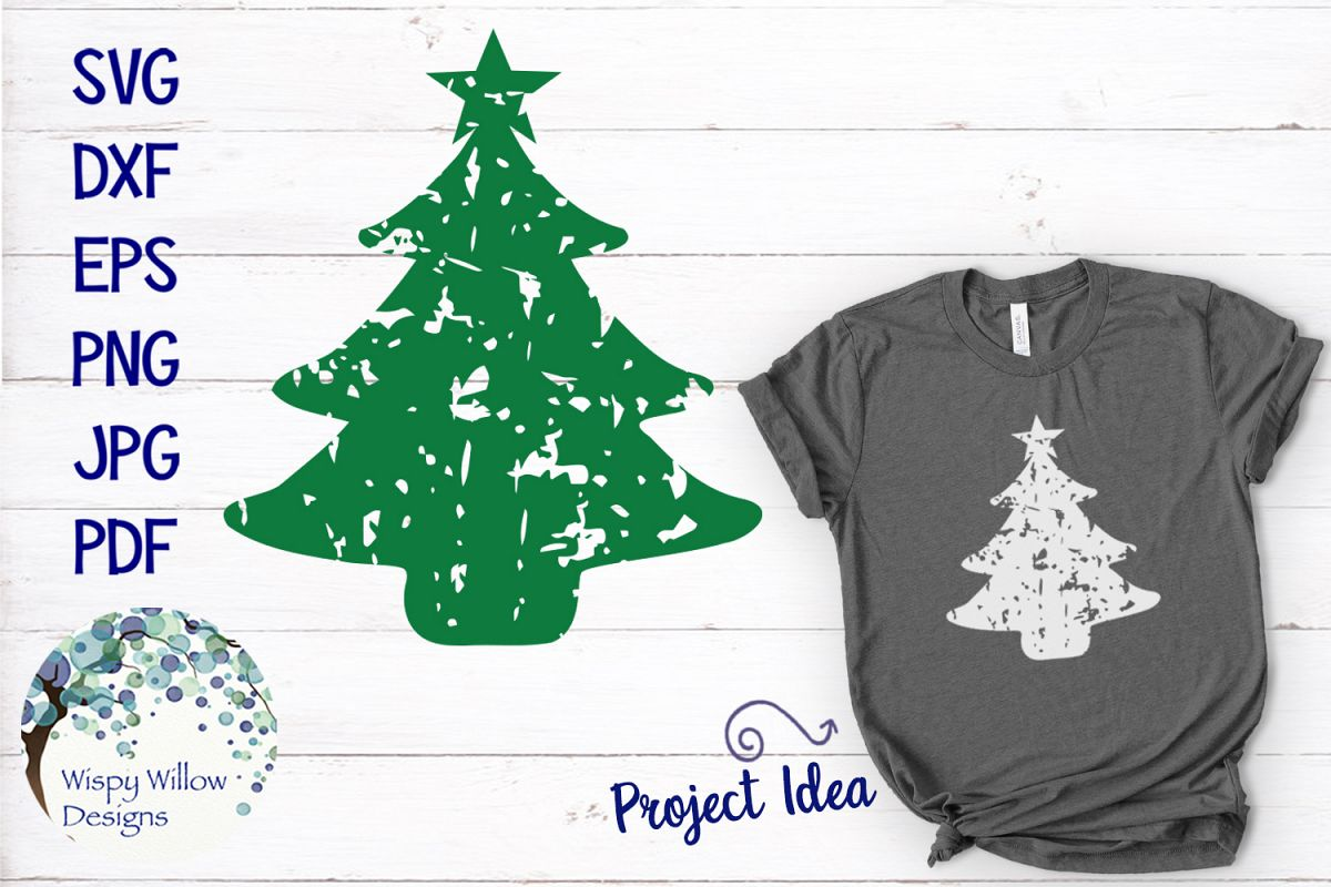 Distressed Grunge Christmas Tree | Christmas SVG example image 1