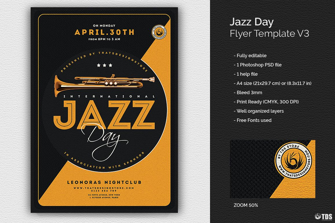 Jazz Day Flyer Template V3 example image 1