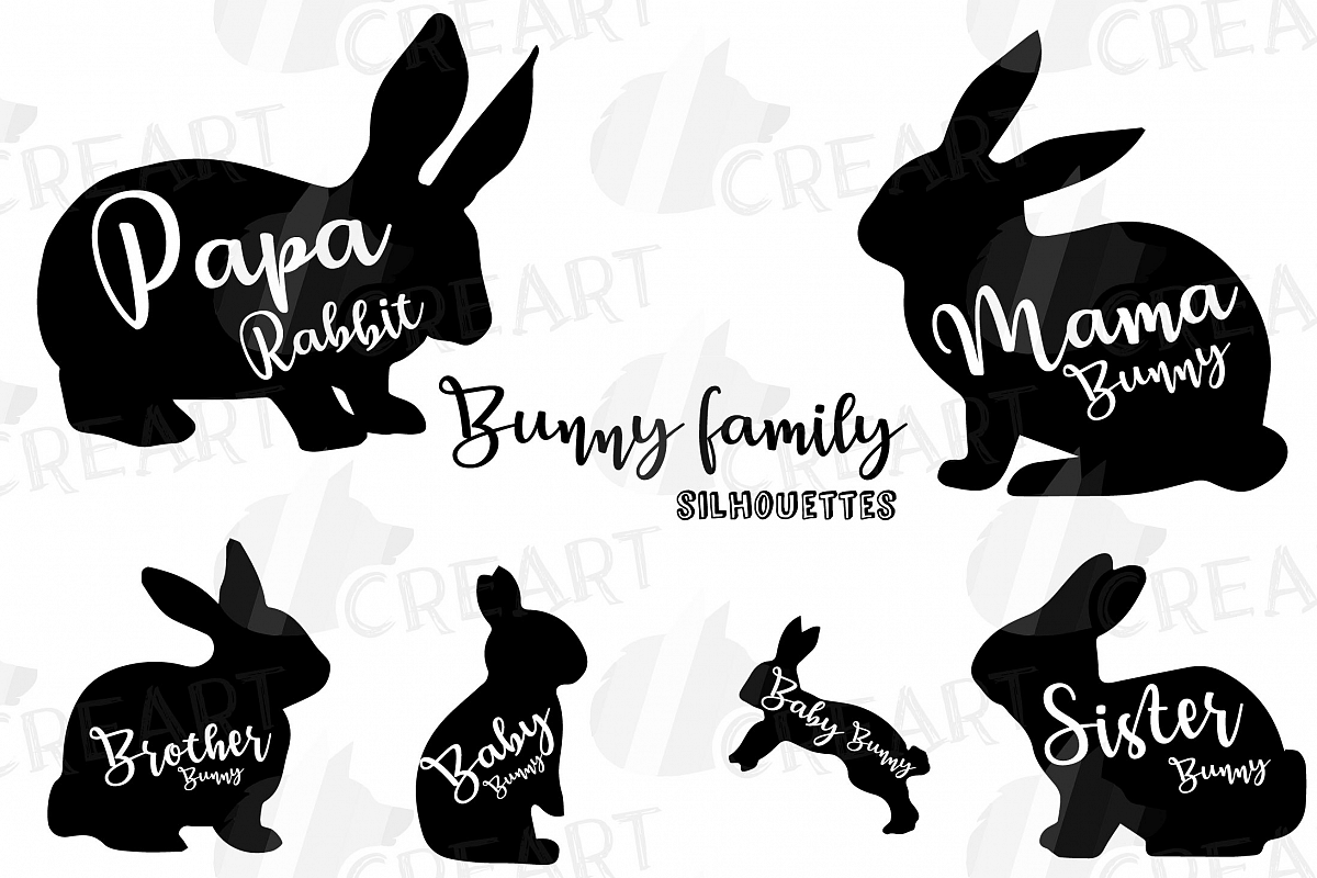 Rabbit family silhouettes, bunny silhouette svg cutting file example image 1