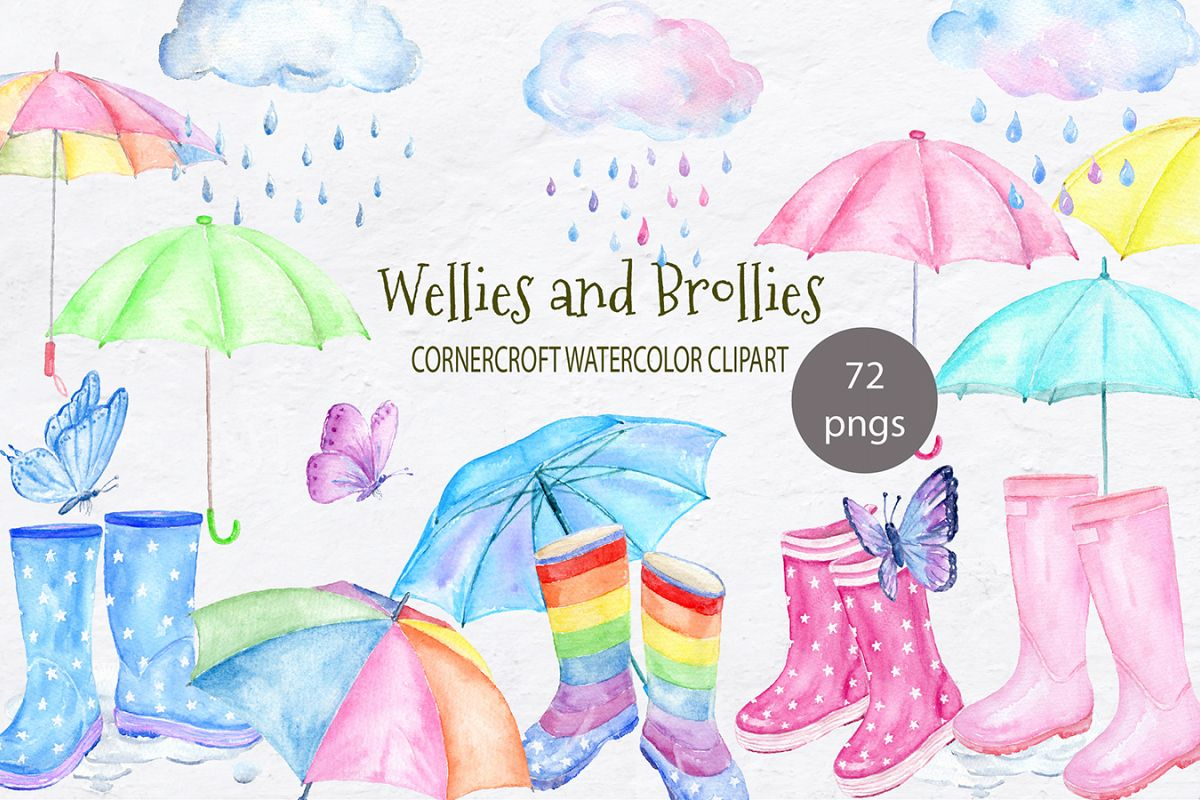 Watercolor Clipart Wellies And Brollies Wellington Boots