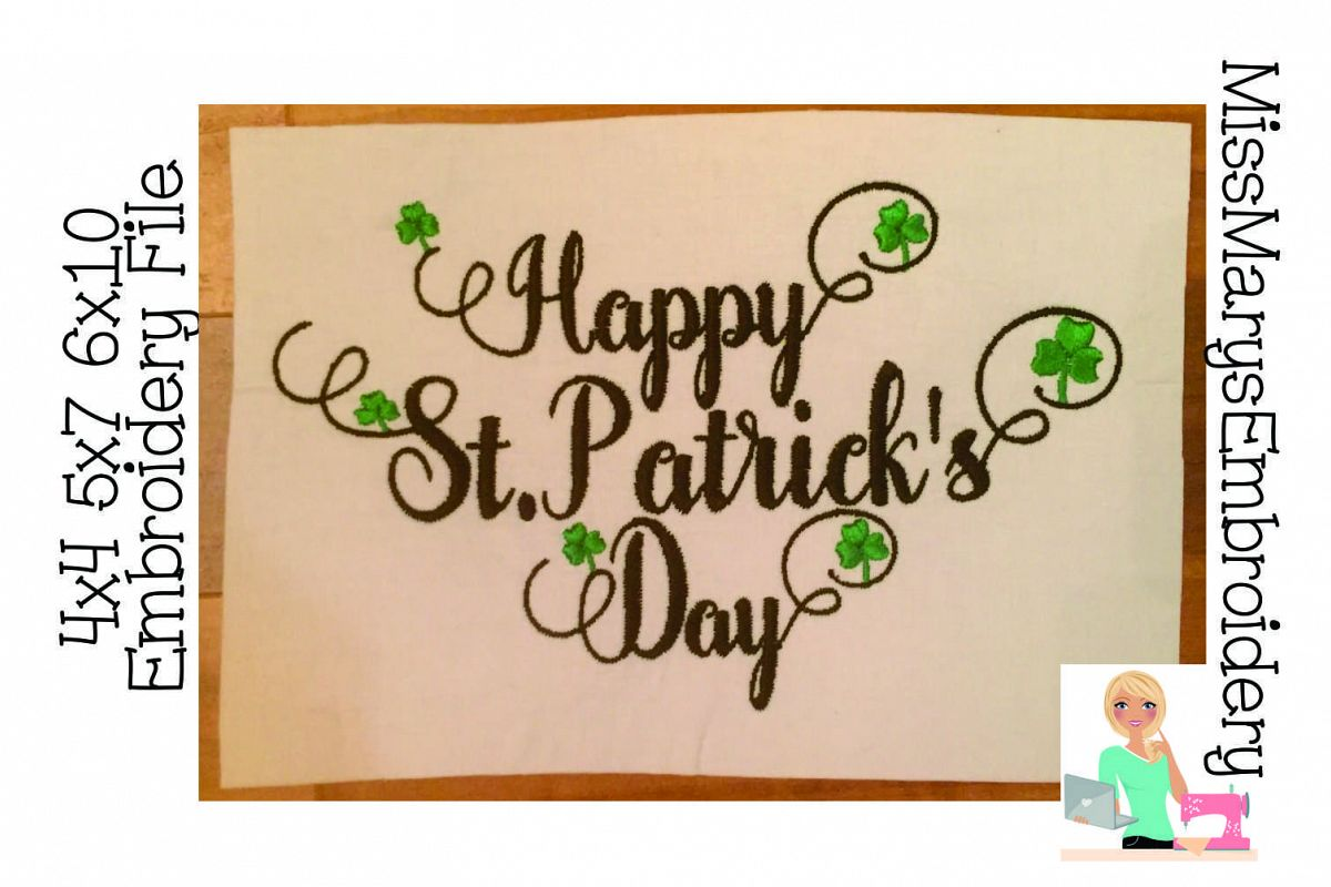 Happy St. Patrick's Embroidery Design File example image 1