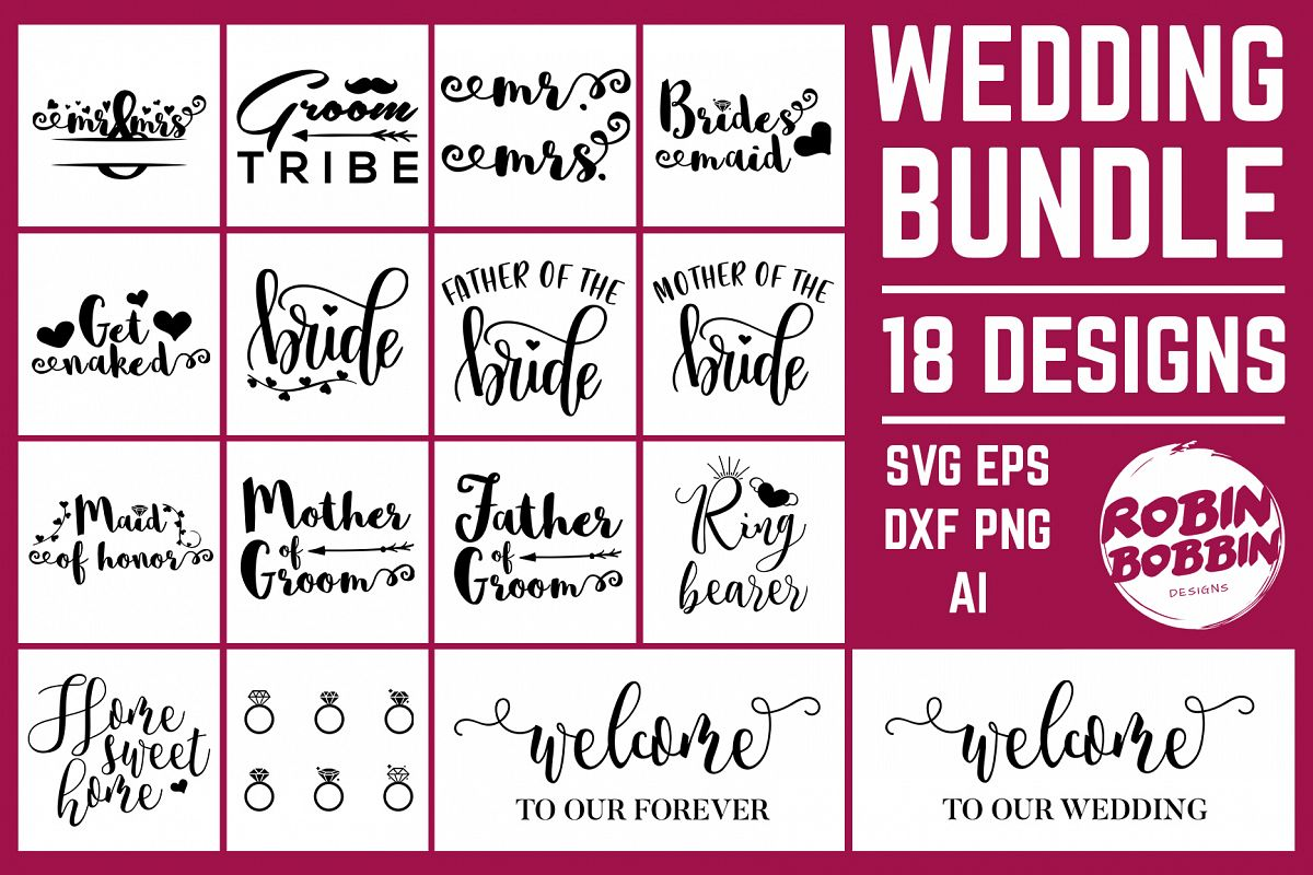 Wedding Bundle 18 Designs SVG Files - Wedding Set SVG EPS AI example image 1